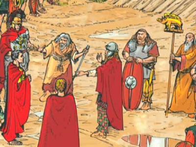 César refuse le passage du Rhône aux Helvètes