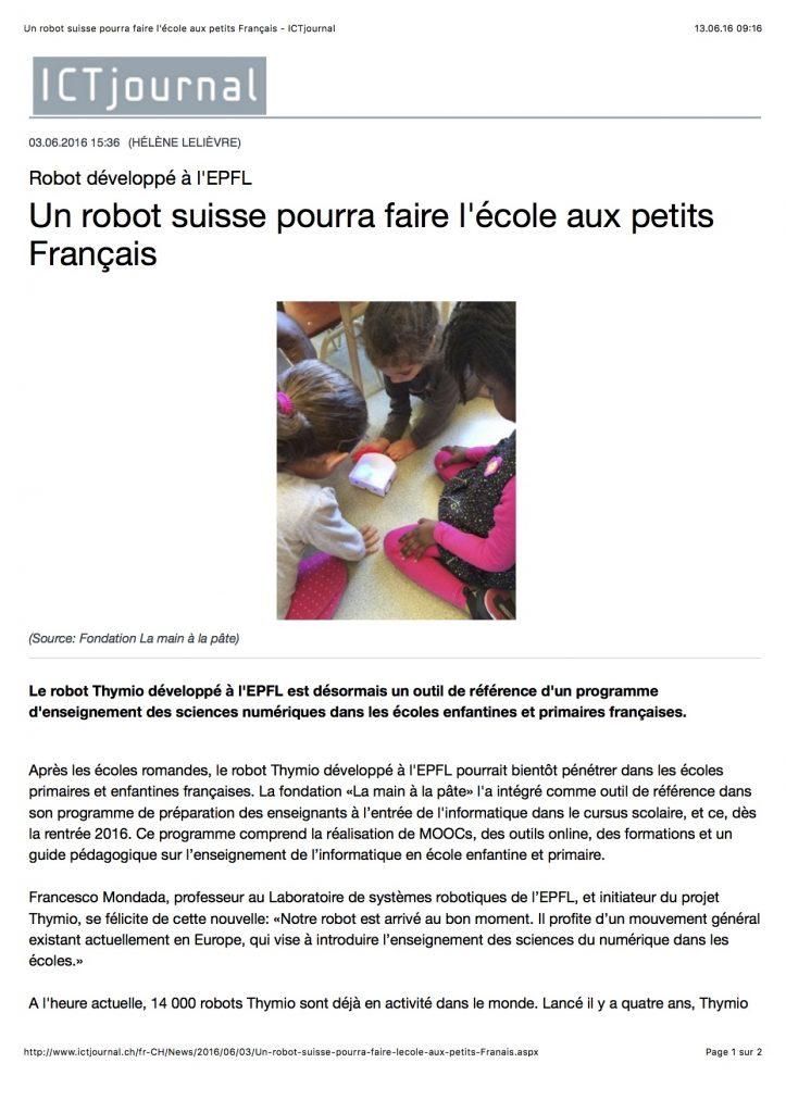 Un robot suisse pourra faire l'ecole aux petits Francais - ICTjournal