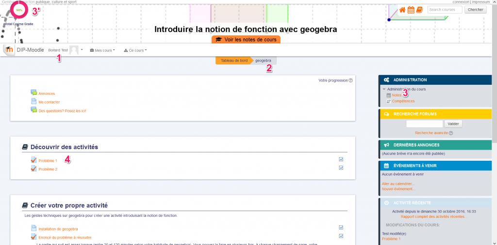0 page d'accueil d'un cours