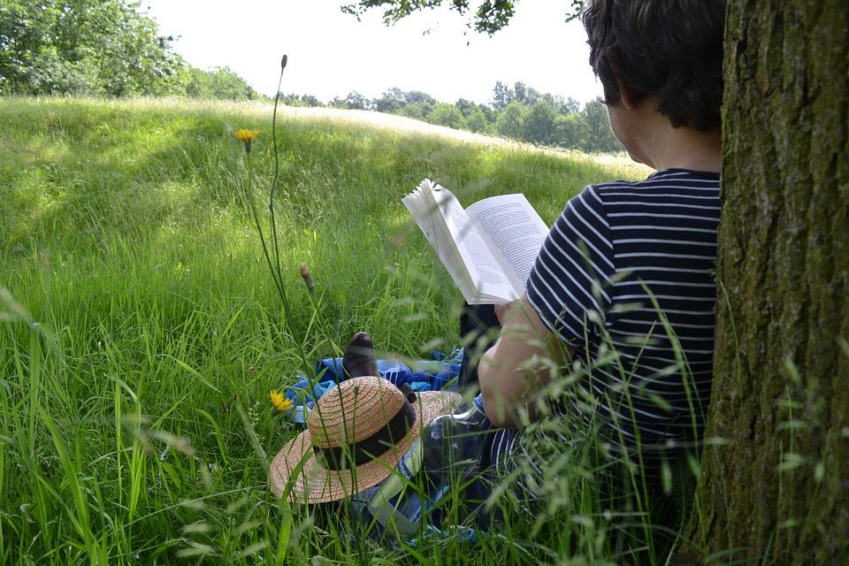 Lecteur dans un prés